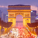 Arc de Triomphe and Champs-Elysées avenue with christmas 2014 lights