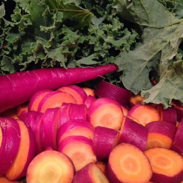 Kale and carrots: backyard to table!