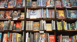 Shelves of graphic novels