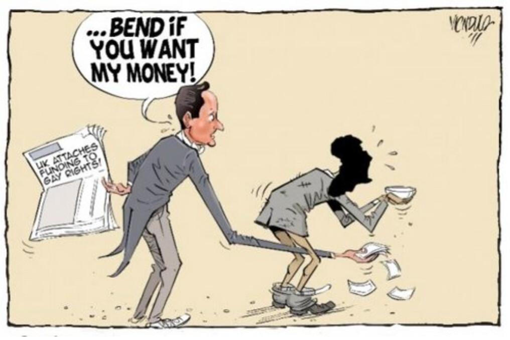 英國首相卡麥隆威脅不再提供金援給迫害同志的國家,非洲國家的憤怒爆發。「他們要維護處決同志的權利,這個掌握非洲國家經濟命脈的西方國家憑什麼認為可以決定自己的錢要往哪去?」肯亞《星報》在頭條刊出上面的漫畫來諷刺同志人群和國際要求同志人權的壓力。
