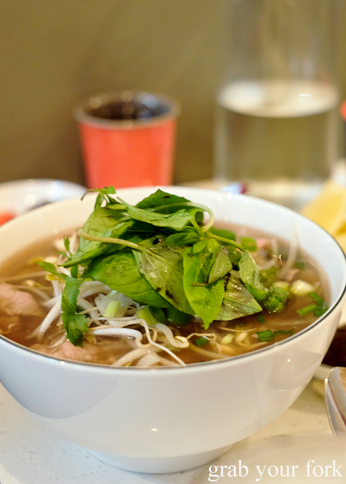 Rare beef and flank pho beef noodle soup at Eat Fuh, Marrickville
