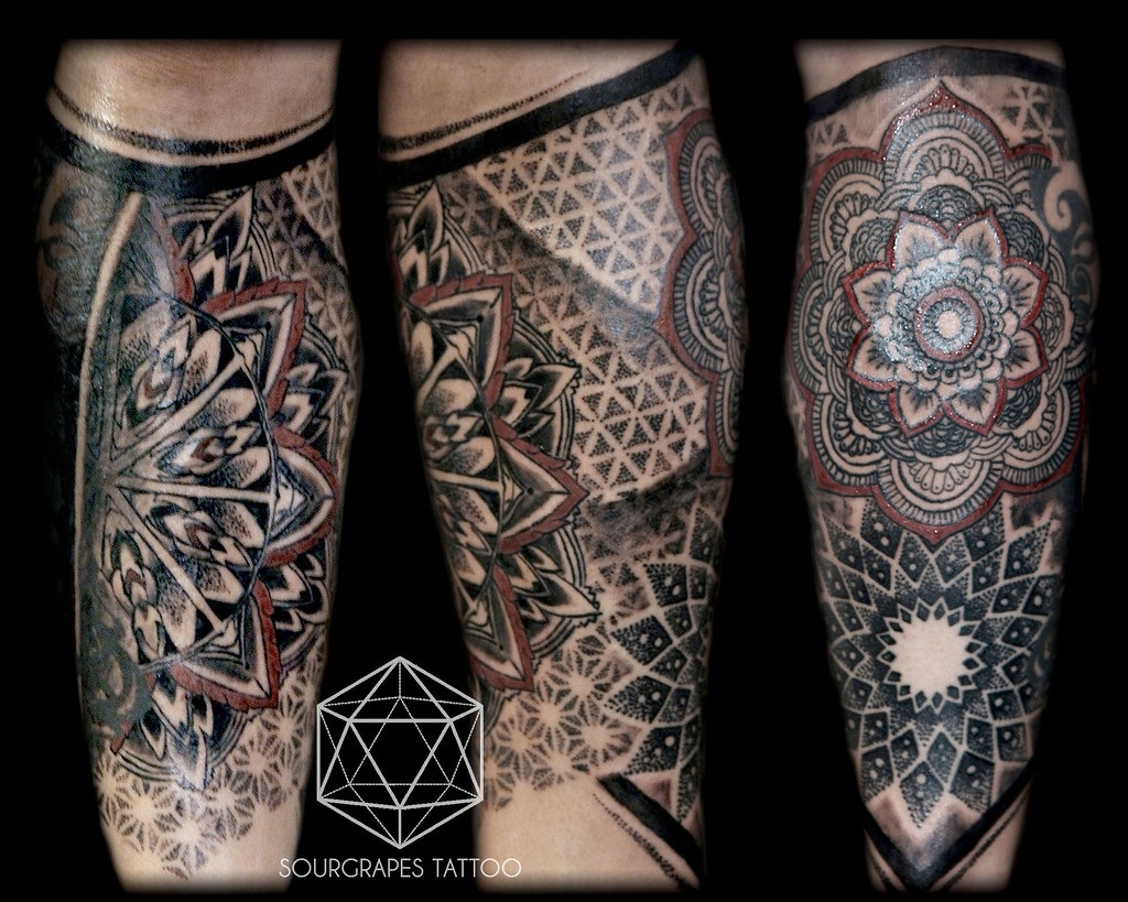 mandala dotwork leg sleeve tattoo tattoo studio. Black Bedroom Furniture Sets. Home Design Ideas