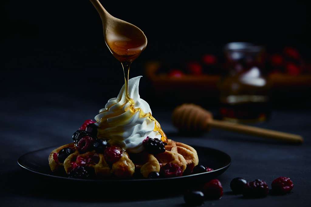 Belgian Waffles with Mixed Berries and Sundae