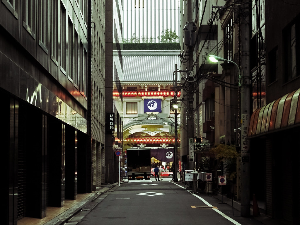 A Sunday Delivery in Ginza  That is the Kabuki-za theater ...