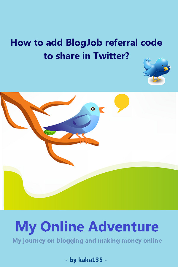 How to add BlogJob referral code to share in Twitter?