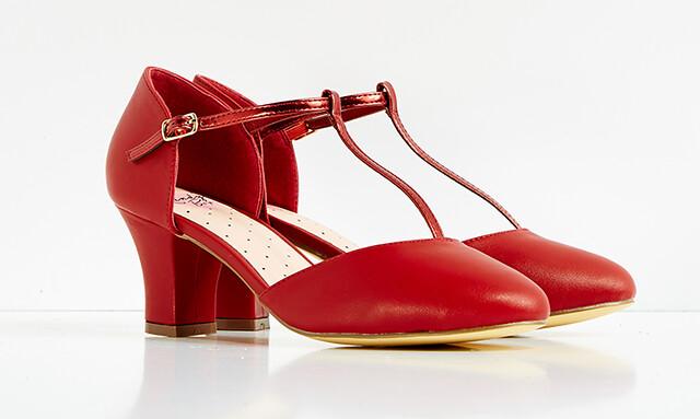 red t-strap heels