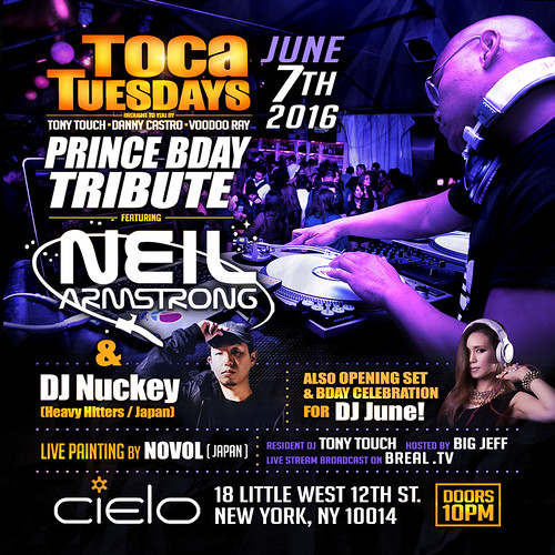 June 7th - Toca Tuesdays PRINCE Tribute w Tony Touch at Cielo