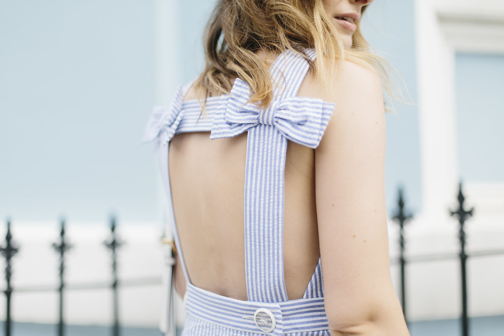 Striped bow pinafore