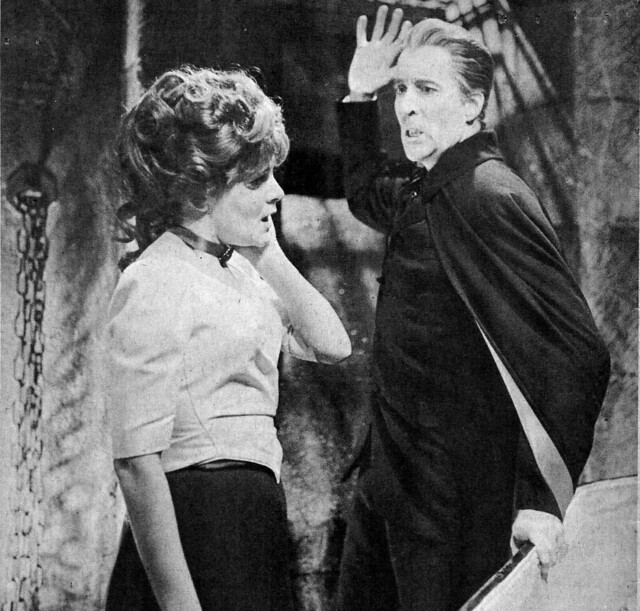 Christopher Lee and Barbara Ewing in Dracula Has Risen from the Grave (1968)