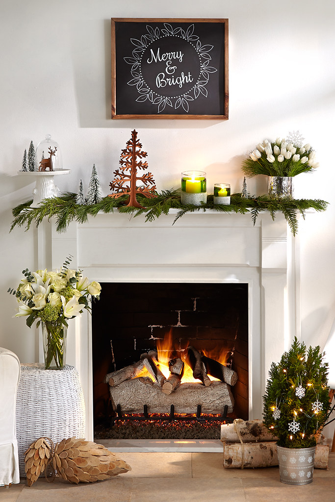 Merry Mantel With Pine Cuttings A Christmas Tree Decoratio