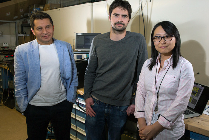 From left, Aditya Mohite, Jean-Christophe Blancon and Wanyi Nie are researchers at Los Alamos National Laboratory studying both the cause and a solution for the tendency of perovskite solar cells to degrade in sunlight.