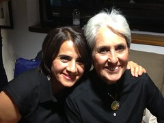 The Legendary Joan Bayez, with her acolyte Aygul Erce in London The Legendary Joan Baez, with her acolyte Aygul Erce in London