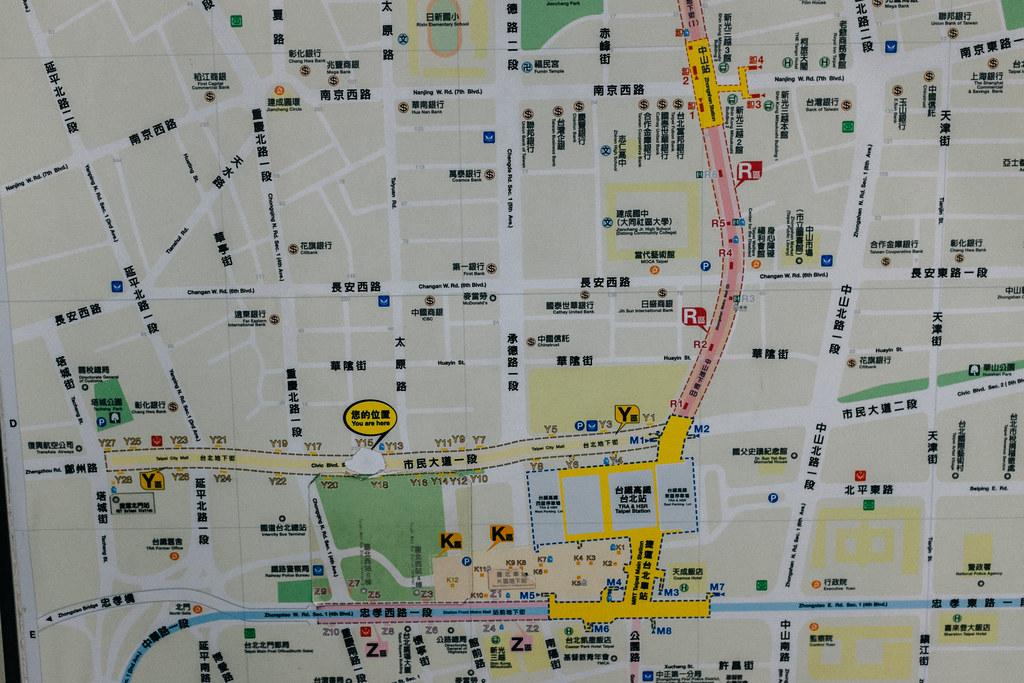 Mapa de las inmediaciones y malls subterráneos de Taipei Main Station