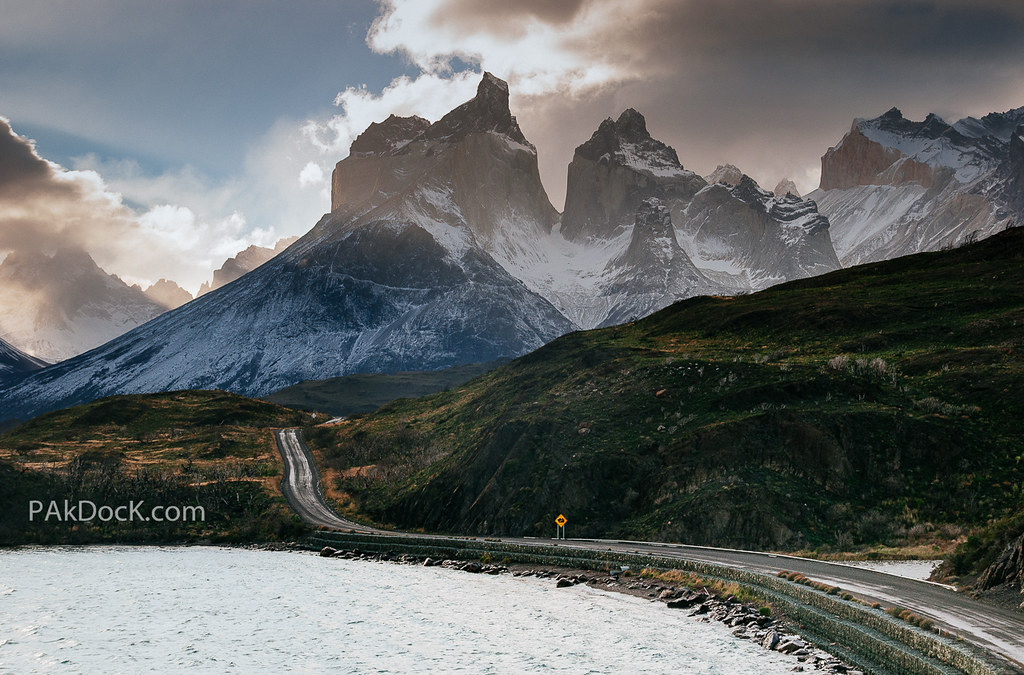 Cuernos Del Paine Chile Sunset On A Stormy Day At