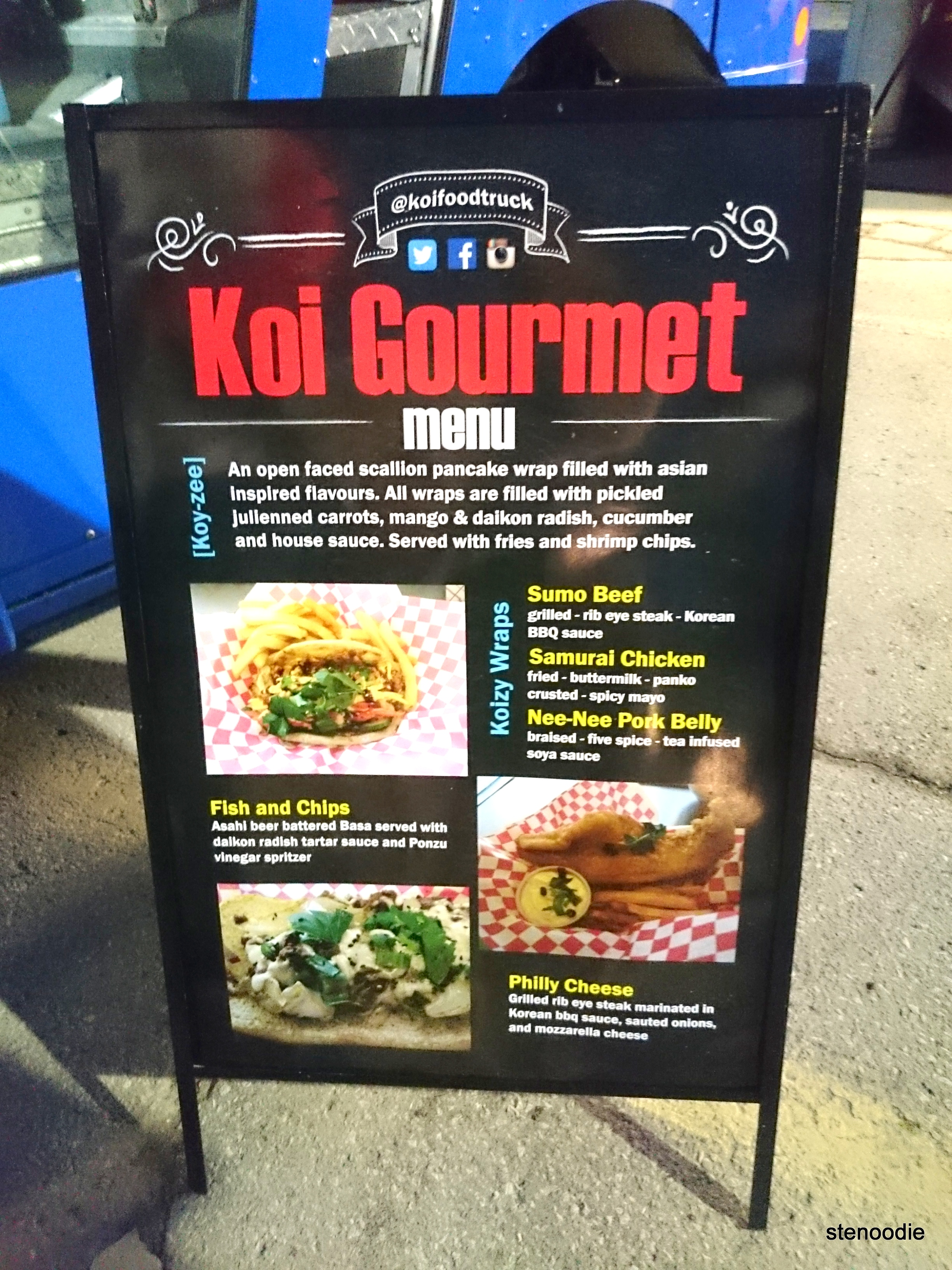 Koi Gourmet Food Inc. menu