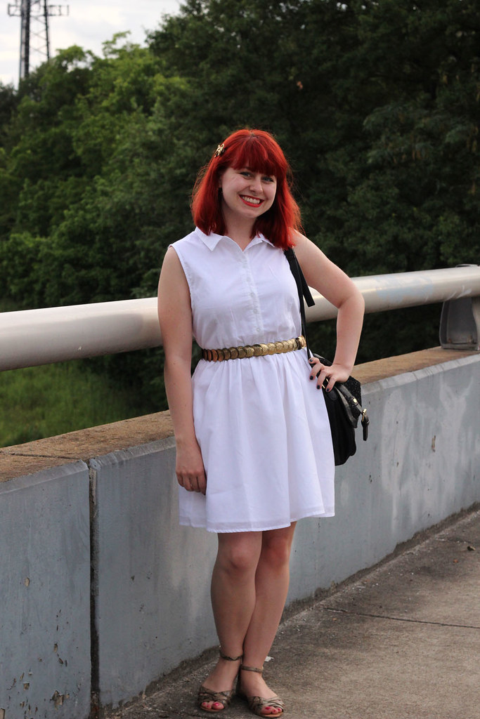 White Sleeveless Fit and Flare Dress Shiny Gold Belt Bright Red Hair