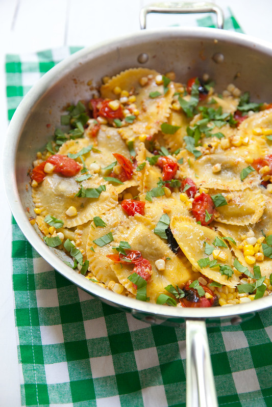 Ravioli with Charred Tomatoes, Corn and Basil