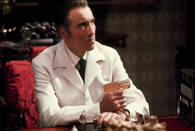"Christopher Lee as ""Francisco Scaramanga"" in a 007 movie ""The Man with the Golden Gun"""