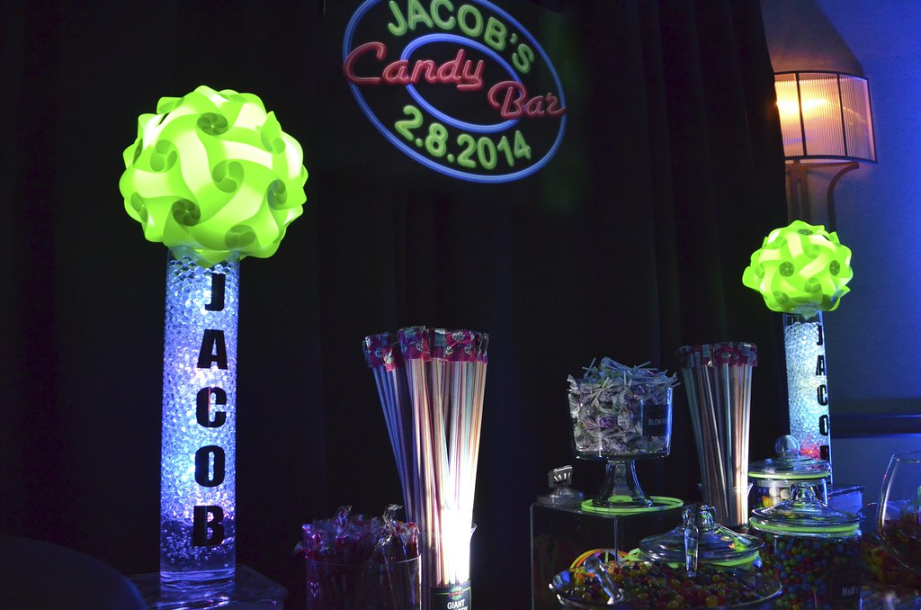 Neon Themed Bar Mitzvah Candy Buffet 1 Cool Neon Themed