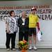 Nicole SICRE (Présidente Comité Départemental Ariège FFC), René BUSCA (Vice président de la Ronde de l'Isard), Bjorg LAMBRECHT (Team Lotto Soudal)