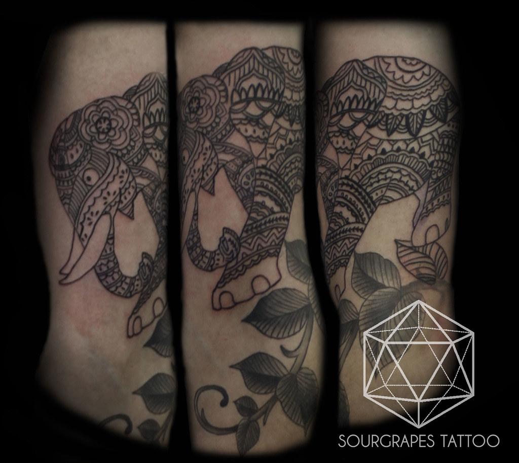 Mehndi Tattoo London : Mehndi elephant blackwork tattoo studio
