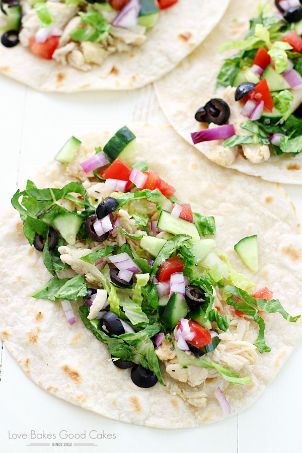 Italian Chicken Chopped Tacos with fresh vegetables.