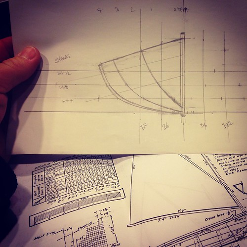 Teaching myself to loft a boat from a table of offsets.