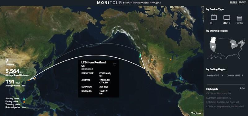 環團以GPS 追蹤美國電子廢棄物流向台中。圖片來源:截圖自 BAN and MIT-SCL. 共同製作的互動網站