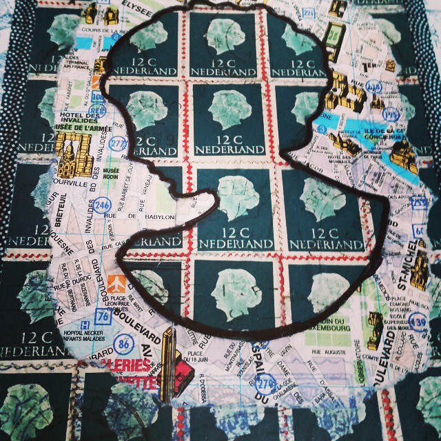 A portrait #mailart #snailmail #snailmailrevolution #swap #swapbot #sent #postage #stamps #postzegels #IUOMA #postcard #handmade
