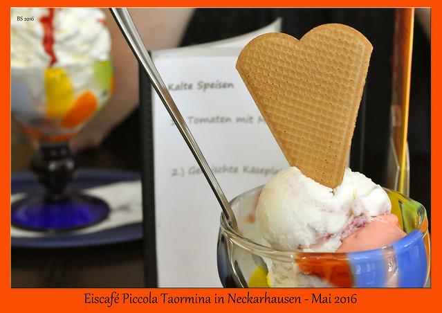 Eiscafé Piccola Taormina Neckarhausen Erdbeer Joghurt Kirsch Mai 2016 Brigitte Stolle