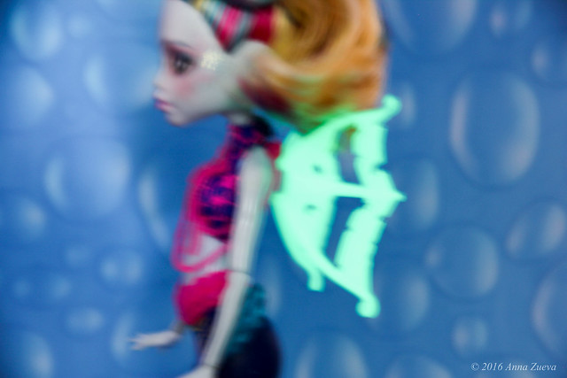 Glow in the dark wings, OOAK repaint of MonsterHigh Lagoona Blue