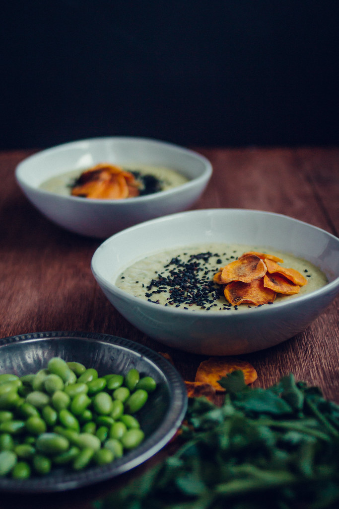Edamame Miso Soup with Crispy Sweet Potatoe Chips