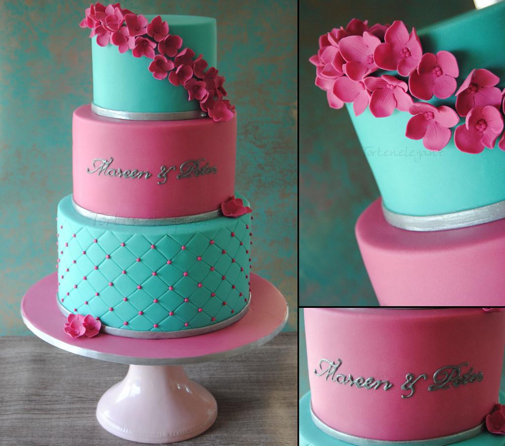 3 Tiered Pink & Turquoise Wedding Cake
