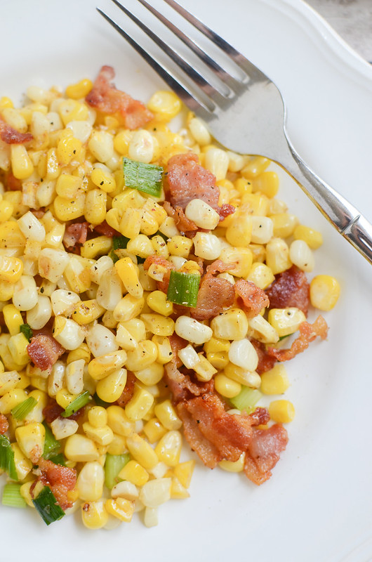 Corn and Bacon Sauté - quick and delicious summer dinner idea! The sweet corn with the smoky bacon is so delicious!