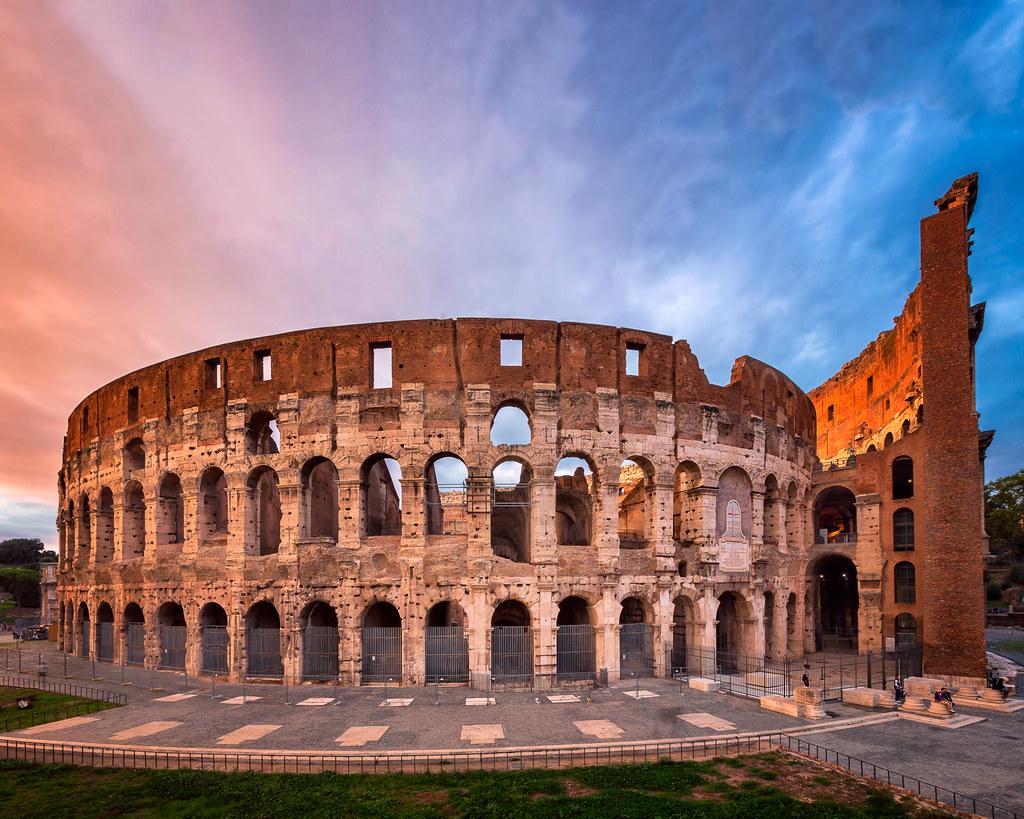 Roman Colosseum (Flavian Amphitheatre) In The Evening, Rom