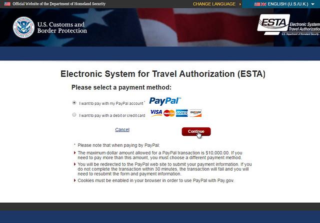 Selección del pago a la hora de rellenar el ESTA para ir a Estados Unidos