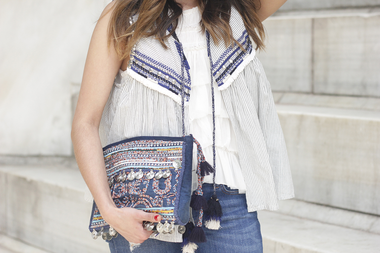boho vest jeans heels blue hat alex and ani bohemian outfit21