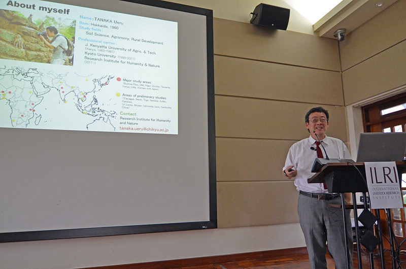 Ueru Tanaka from the Research Institute for Humanity and Nature, Kyoto gives a presentation during the BecA-JSPS symposium in Nairobi, 16 June 2016