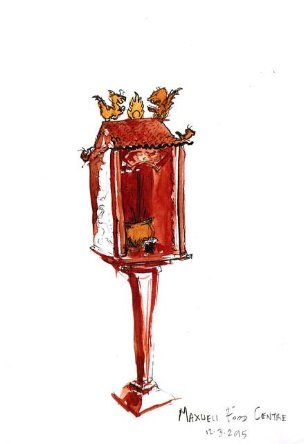 An ink and watercolor sketch of a small red shrine in Maxwell Food Centre in Singapore