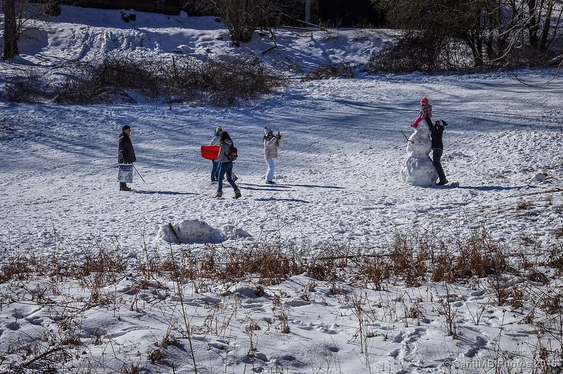 Niños jugando en la nieve detrás de l'Avet Blau