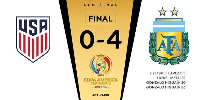 Copa América Centenario (SemiFinales): USA 0 - Argentina 4