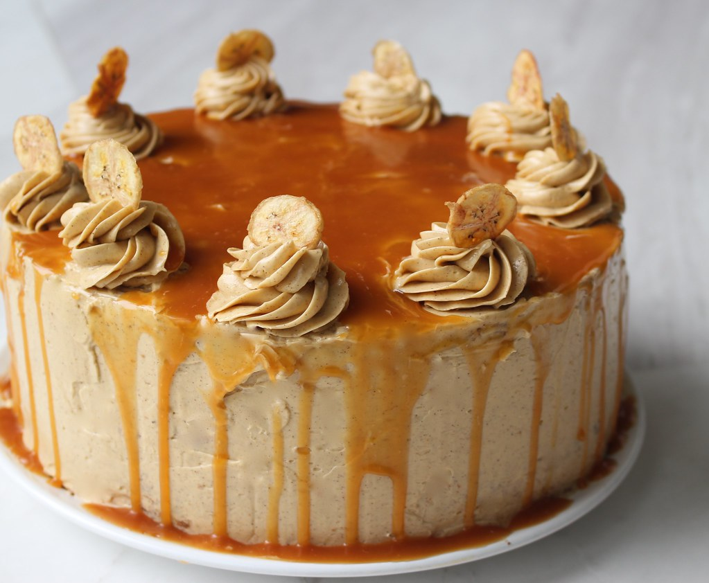 Cake Design Caramel : 4 layer banana cake frosted with caramel espresso buttercr ...