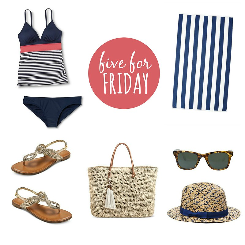 five for friday beach day, stripe tankini and navy and white stripe towel, straw tote bag | Style On Target