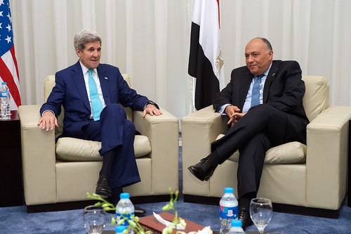 Secretary Kerry Sits With Egyptian Foreign Minister Shoukry Amid a Bilateral Meeting in Sharm el-Sheikh