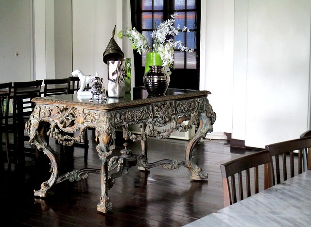 Old courthouse, antique table