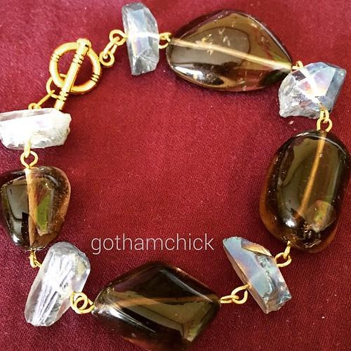 #InspiredToCreate ; #SmokyQuartz and #mysticquartz  #formysister . #gothamchickEtsy #GothamChickinManila @handeagted #SpecialPiece #accesorjes #bracelet #handmade