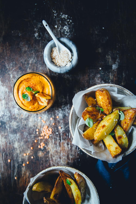 Smoked Paprika & Lentil Dip Sauce with Crispy Potato Wedges | Cashew Kitchen
