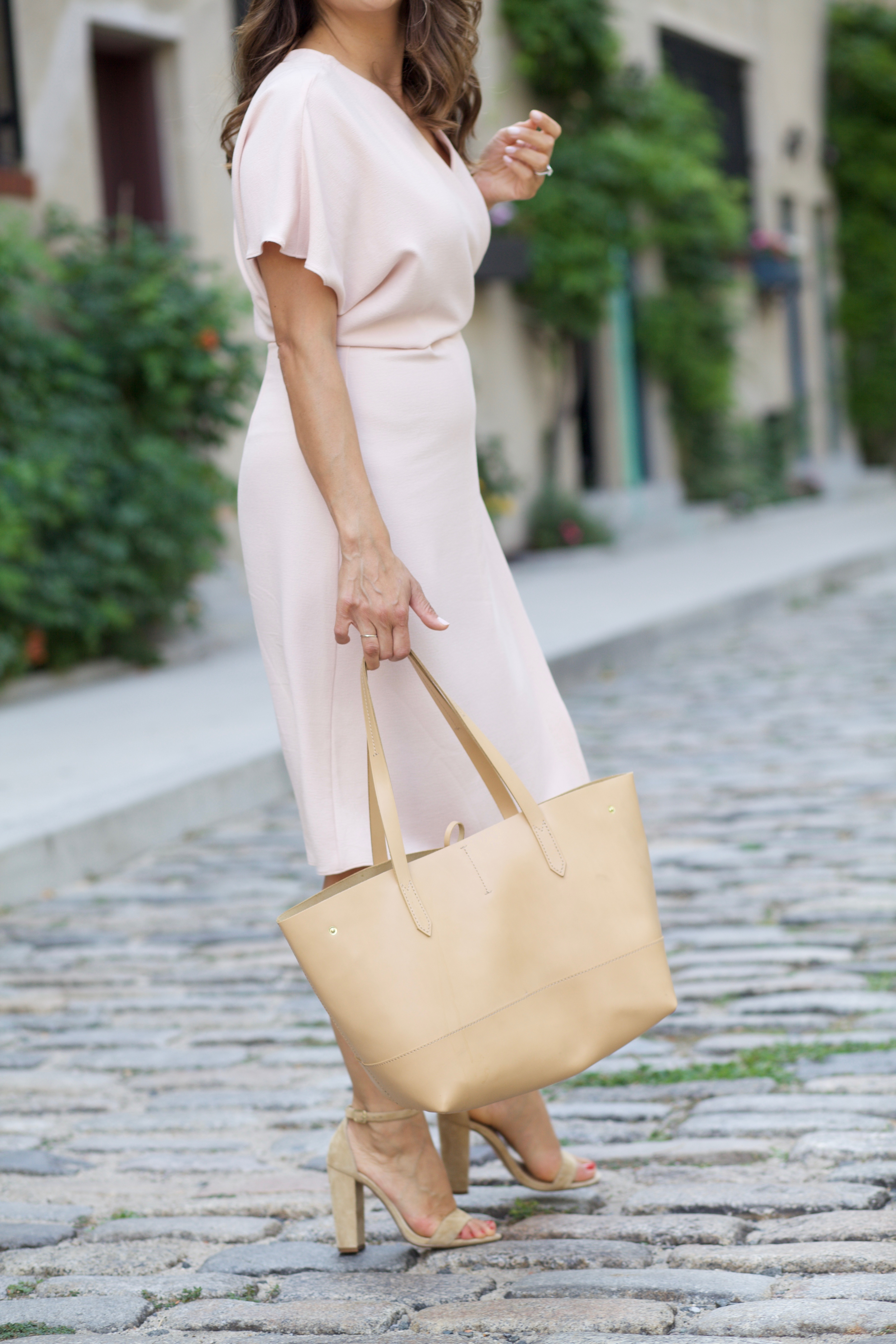 Maternity Style in pale pink wrap dress with nude steve madden heels on Corporate Catwalk