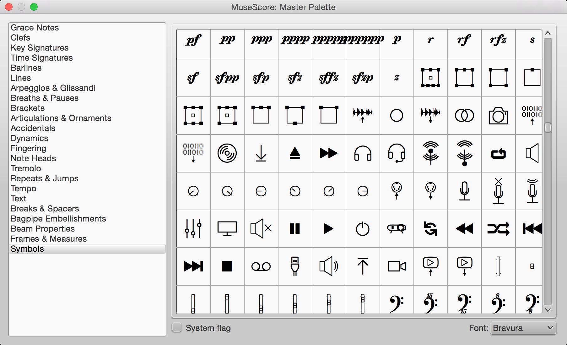 All Sizes Symbols Master Palette Including Symbols From Bravura