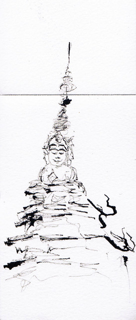 An ink sketch of a temple